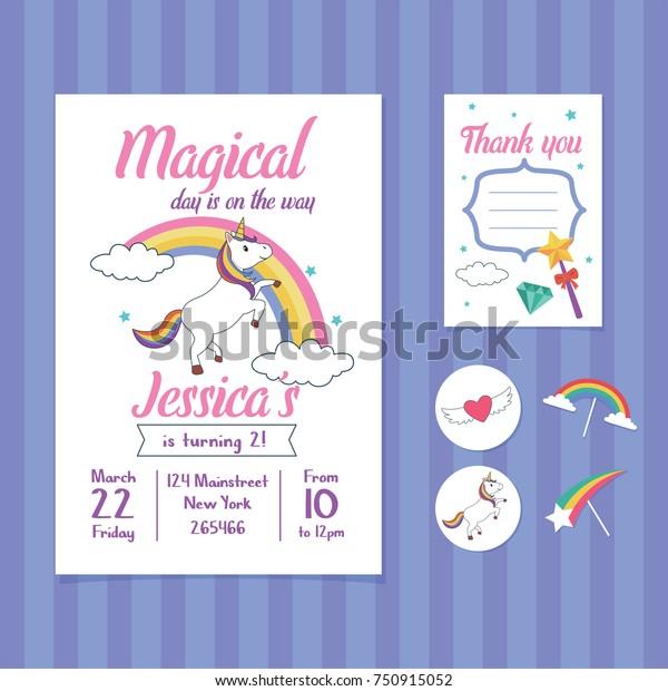 Unicorn Birthday Invitation Card Template Unicorn Stock