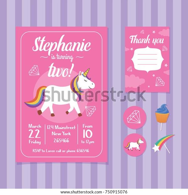 Unicorn Birthday Invitation Card Template Stock Vector