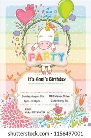 Kids Birthday Party Invitation Card Vector De Stock Libre De