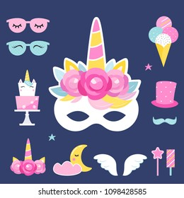 Unicorn Birthday or Slumber Party Props and Decorations. Vector Design