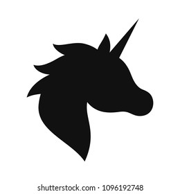 Unicorn black silhouette. Vector illustration drawing, isolated.