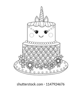 unicorn cake coloring book adult 260nw