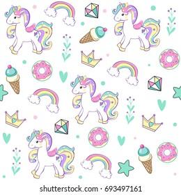 Unicorn with Cake, ice cream, crown, diamond seamless pattern