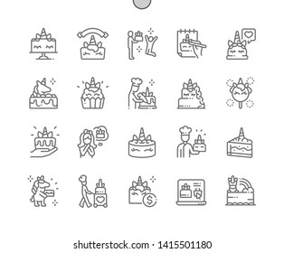 Unicorn cake Well-crafted Pixel Perfect Vector Thin Line Icons 30 2x Grid for Web Graphics and Apps. Simple Minimal Pictogram