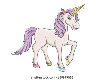 Unicorn. Cartoon unicorn character on the white background
