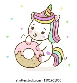 Unicorn cartoon vector with sweet donut Pastel color (illustrator): Series Yummy food, fairly tales Pony- card and Print for t-shirt. Romantic hand drawing or instructional media illustration for kid.