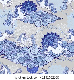 Unicorn and cloud and mandala design for fantasy  Porcelain blue and white tone with  sliver gray background seamless pattern vector