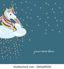 Unicorn in the cloud with rainbow and colored drops. Vector illustration on turquoise background. Place for your text
