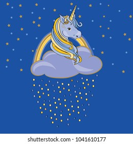 Unicorn in the cloud with rainbow and colored drops. Vector illustration on blue background