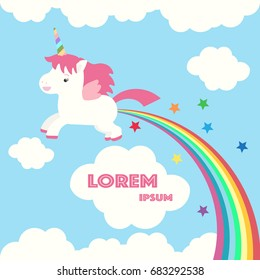Unicorn in the clouds. Vector illustration depicting cute unicorn and rainbow in the skies.