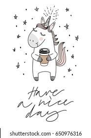 Unicorn and coffee, good morning, magic vector greeting card