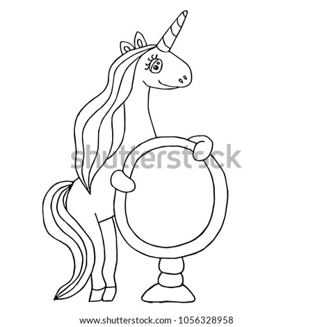 Unicorn Coloring Book Magical Anima Coloring Stock Vector Royalty