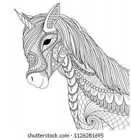 Unicorn for coloring book page and other design element. Vector illustration