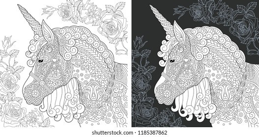 Unicorn. Coloring Page. Coloring Book. Colouring picture with fantasy horse drawn in zentangle style. Antistress freehand sketch drawing. Vector illustration.