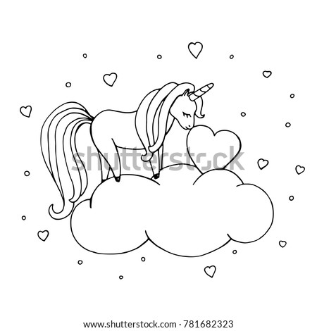 Unicorn Coloring Page Cute Hand Drawn Vector Illustration With Baby Fantasy Character