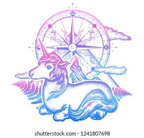 Unicorn, compass and mountains in the circle tattoo, celtic style. Great outdoors. Symbol of dreams, fairy tales, fantasies, adventure tourism, meditation