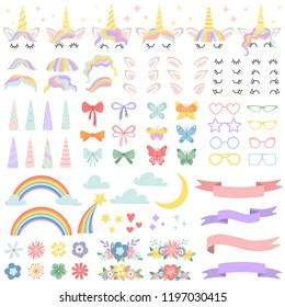 Unicorn constructor. Pony mane styling bundle, unicorns horn and party star glasses. Flowers, magic rainbow and head bows for fairy pony face hairstyle creating cartoon isolated vector icons set
