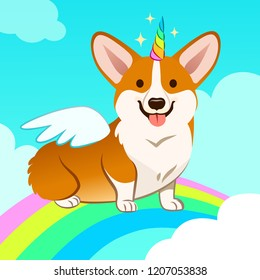 Unicorn corgi dog with horn and wings vector cartoon illustration. Cute corgi puppy in the sky with rainbow and clouds, smiling with tongue out. Humor, magic, mythical creatures, believe in yourself