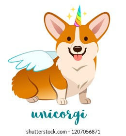 Unicorn corgi dog with horn and wings vector cartoon illustration. Cute funny corgi puppy smiling with tongue out, isolated on white. Humorous, magic, mythical creatures, believe in yourself.