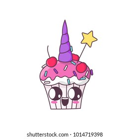 Unicorn cupcake on a white background. It can be used for card, sticker, patch, phone case, poster, t-shirt, mug etc.