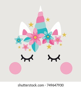 Unicorn cute cake decoration with elements pink and aqua / paper props / fantasy animal, stars, flowers, cute