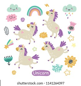 Unicorn cute  characters set