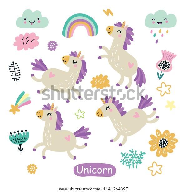 Unicorn cute  characters set