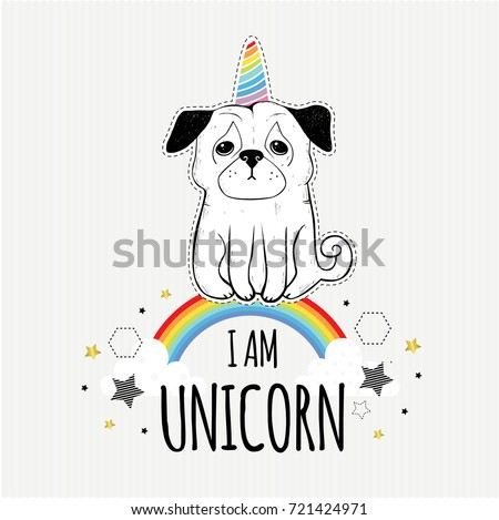 Unicorn Cute Dog Pet Animal Vector Stock Vector Royalty Free