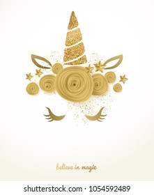 Unicorn cute illustration with golden glitter horn and flowers - card vector design