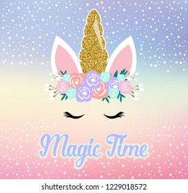 Unicorn cute illustration - magic time