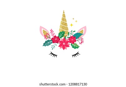 Unicorn cute illustration - Merry Christmas card and shirt design