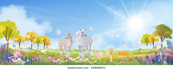 Unicorn and cute little fairies flying on spring filds with wild grass flower,Cute cartoon wonderland landscape in Summer morning with fairy family horse walking on green meadow with sunlight shining.