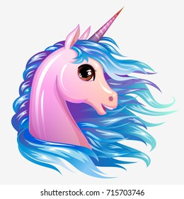 Unicorn cute magic vector  character. Magic pony girl head isolated icon