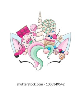 Unicorn cute vector illustration. Head with candy and cupcake. Card and shirt design.