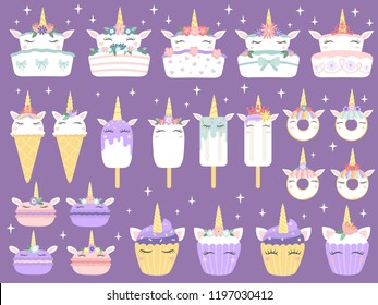 Unicorn desserts. Unicorns macaron, delicious bakery cake funny chocolate cupcake and donut. Rainbow ice cream, horned muffin dessert and cupcakes pink party food cartoon vector isolated icons set