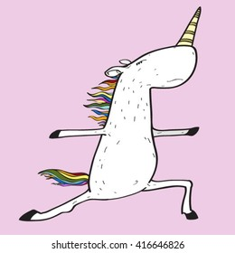 Unicorn engaged in yoga