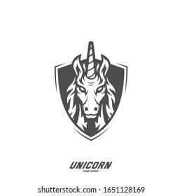 Unicorn Esport gaming mascot logo template Vector. Modern Head Unicorn Logo Vector