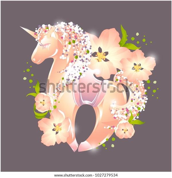 Unicorn Fabulous Animal Pony Flowers Postcard Stock Vector