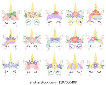 Unicorn face. Beautiful pony unicorns faces, magic horn in rainbow flower wreath and pony cute eyelashes head, fairytale rainbow magical cartoon vector isolated icons illustration set