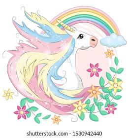 Unicorn face. Beautiful pony unicorns faces, magic horn in rainbow flower wreath and pony cute eyelashes head, fairytale rainbow magical cartoon isolated illustration