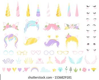 Unicorn face. Fairy tale pony head horn eyes ear hairs birthday party unicorn vector creation kit