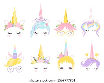 Unicorn face. Fantasy horse pony animal creation kit ears head horn eyes and hairs glasses vector cute template