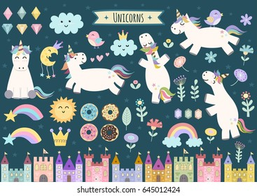 Unicorn and fairytale isolated elements for your design. Castles, rainbow, crystals, clouds and flowers. Cute clipart collection. Vector illustration