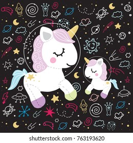 Unicorn family space mother baby black background