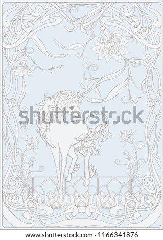 Unicorn Fantastic Vintage Flowers Vector Illustration Vector de ...
