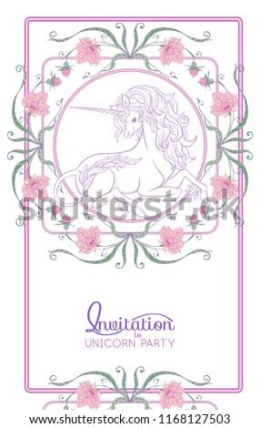 Unicorn Fantastic Vintage Frame Flowers Vector Vector de stock ...