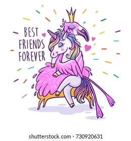 Unicorn with flamingo. Best friends forever. Vector greeting card