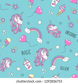 Unicorn and flamingo pattern on a lilac background. Colorful trendy seamless pattern. Fashion illustration drawing in modern style for clothes. Drawing for kids clothes, t-shirts, fabrics or packaging