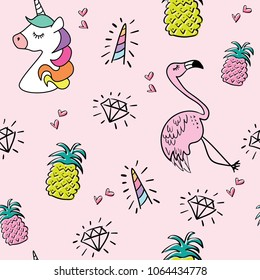 Unicorn flamingo pineapple drawings seamless endless repeating pattern texture on pink / Vector illustration design for fashion fabrics, textile graphics, prints, wallpapers and for other uses.