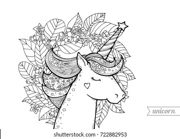 Unicorn Flower Bouquet Magical Animal Vector Artwork Black And White Coloring